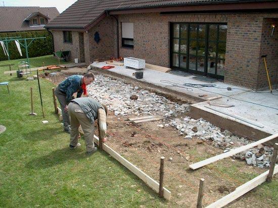 Bauarbeiten zur gro en terrasse for Gestaltung terrasse
