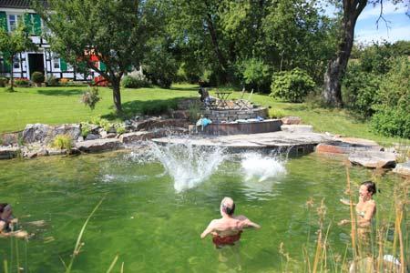 Kleingarten anlegen Stein Fliesen Wasser Schwimmteich anlegen Ideen