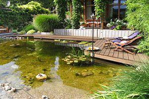 ein Garten mit Schwimmteich und Holzsteg hat seinen Preis