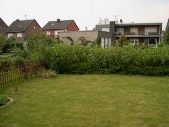 kleiner 100 qm Garten mit Rasenfläche, Holzzaun und Hartriegelhecke
