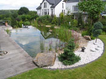 Gartenteich mit steg for Gartengestaltung gartenteich