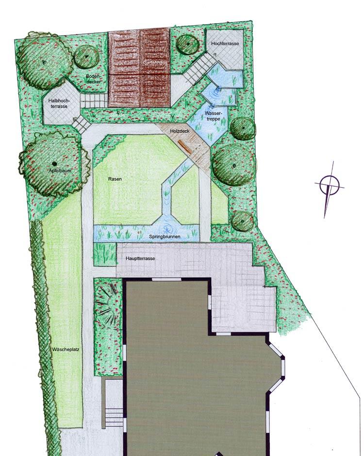 Gartenplanung Hanggarten Mit Wasserkaskaden