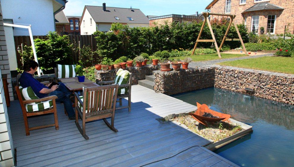 garten mit gabionen-wasserbecken, Garten und bauen