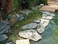 Trittsteine im Wasser trennen Regenerationszone vom Schwimmbereich