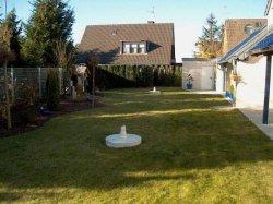 Rasenfläche und ursprüngliche seitliche Bepflanzung des Gartens