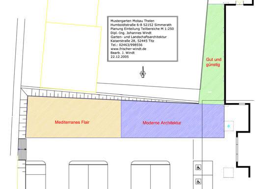 Einteilung des Geländes der Gartenausstellung in kundenspezifische Teilbereiche