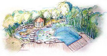 mediterrane Gärten: Planung in 3D Ansichtsskizze für den Schwimmteich