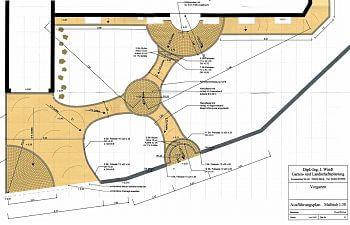 Vorgarten 200 qm, Ausführungsplan in CAD