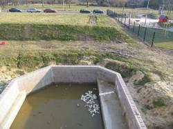 vorhandenes  Schwimmteich-Becken von oben