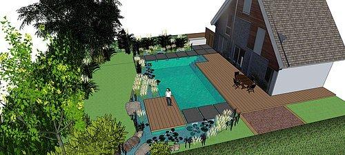 Garten mit Schwimmteich Visualisierung 3D