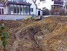 Gartenansicht während der Erd-und Mauerarbeiten