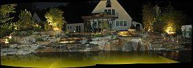 Panorama-Bild Beleuchtung Schwimmteich