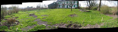 Blick zum Haus und zur Roßkastanie über die zukünftige Teichanlage