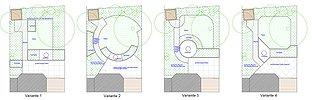 Gartenplanung für einen Reihenhausgarten in verschiedenen Varianten