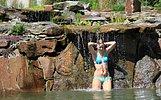 Wasserfall über Schollenstein als Nackendusche